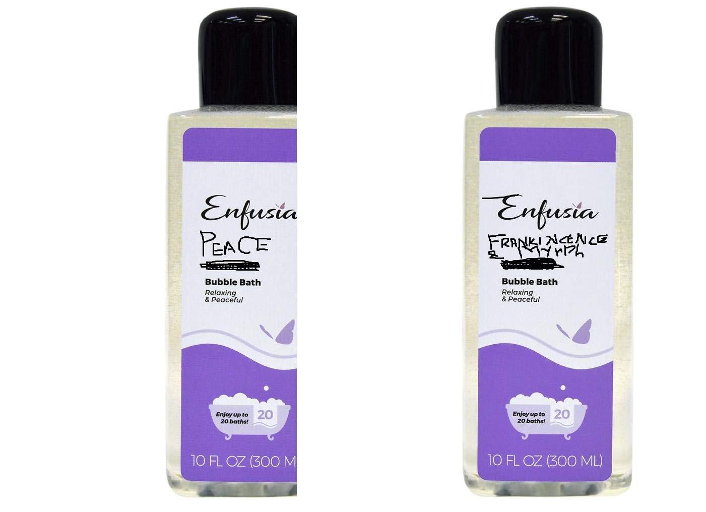 Bubble Bath 10 oz -Peace Perfectly Harmonious & Frankincnse and Myrrh(pack of 2) upto 20 bath with each bottle by Enfusia