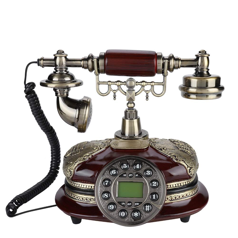 Antique Telephone, Fixed Digital Vintage Telephone Classic European Retro Landline Telephone Corded with Hanging Headset for Home Hotel Office Decor by Zerone