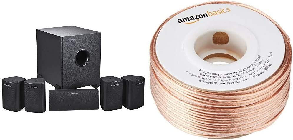 Monoprice 5.1 Channel Home Theater Satellite Speakers & Subwoofer  - Black & AmazonBasics SW100ft 16-Gauge Speaker Wire - 100 Feet