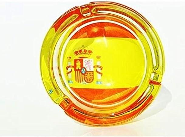 Cenicero de cristal BANDERA ESPAÑOLA España 8,5cm: Amazon.es: Hogar