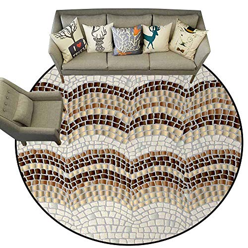 Beige,Bath Mat Set Kitchen Door D72 Gradient Colored Mosaic Waves Setting Antique Roman Royal Dated Retro Patterns Rubber mat Beige Tan Brown