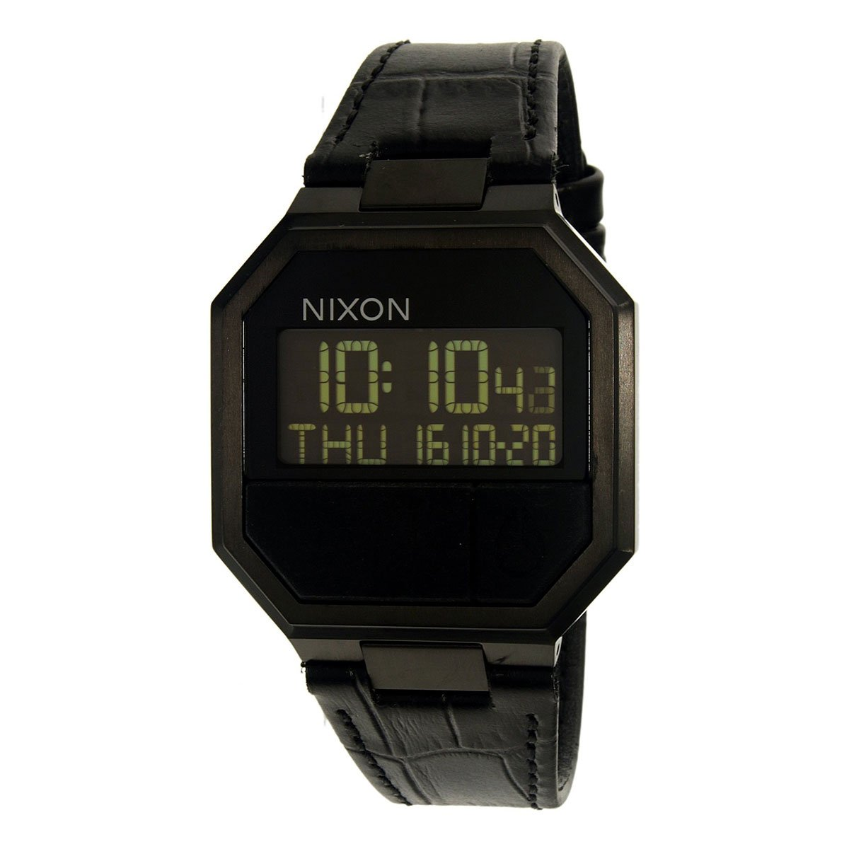 Nixon Unisex Re-Run Leather Black Croc Watch