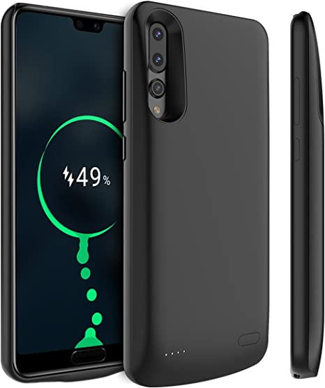 Black Compatible with Huawei P20 Lite Battery Case Impact Resistant Power Bank Full Protection for Huawei P20 Lite 4700mAh Extended Battery Rechargeable Backup Fast Charging Case