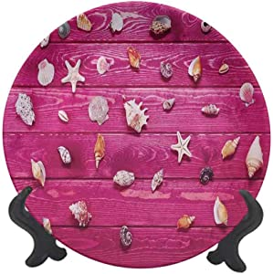 "Rustic 8"" Ceramic Decorative Plate,Set of Little Sea Shells on The Vintage Marine Coast Tropical Life Theme Image Dinner Plate Decor Accessory for Dining,Parties,Wedding Cream Fuchsia"