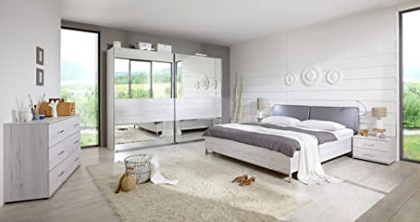Camera Da Letto Rovere Bianco : 4 pezzi in camera da letto in rovere bianco nb. con abs. in vetro