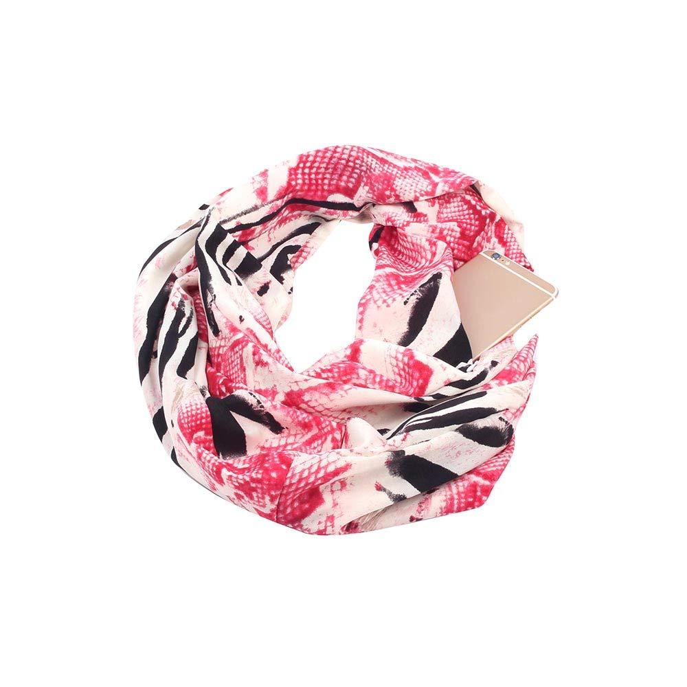 Women's Infinity Blanket Scarf Stylish Cozy Tartan Scarves Warm Wrap Shawl Scarves Zipper Pocket 19.7x70.9)