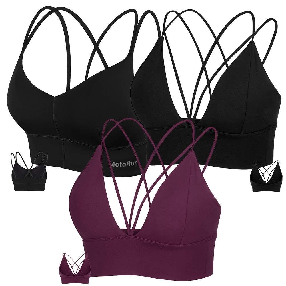 MotoRun Womens Push-up Padded Strappy Sports Bra Cross Back Wirefree Fitness Yoga Top