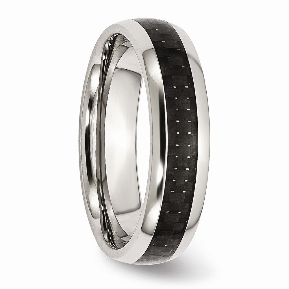 BillyTheTree Jewelry Stainless Steel Polished w//Black Carbon Fiber Inlay 6mm Band Ring