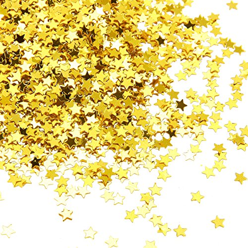 (Star Confetti - Metallic Glitter Foil Confetti Star Sequins - Ideal for Balloons, Tables, Art Crafts, Wedding Festival Decor, Bachelorette Party Supplies, DIY Decorations - Gold, 0.1 inches, 7-Ounce )