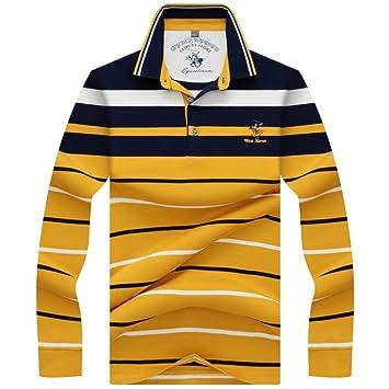 NISHIPANGZI Stripe Polo 3D Embroidery Solapa Casual Polo Hombre de ...