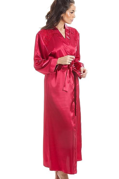 7449dbb57bac6e Camille Luxuriöser Damen Morgenmantel - lang - aus Satin - Rot: Camille:  Amazon.de: Bekleidung