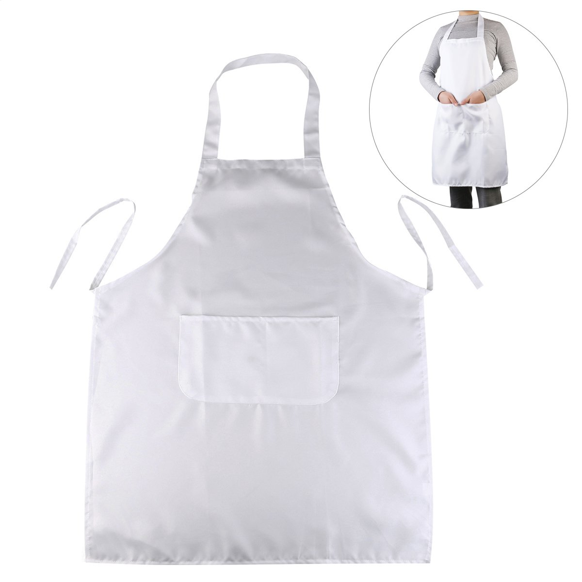ULTNICE Halter-Neck Style Sleeveless Kitchen Cooking Apron with Pocket (White)