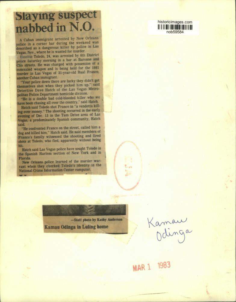 Vintage Photos 1983 Press Photo Kamau Odinga in Luling Home