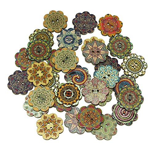 ALL in ONE Mixed Color Wood Buttons Vintage Buttons with 2 Holes for DIY Sewing Crafts (Flower Shape 1 inch)