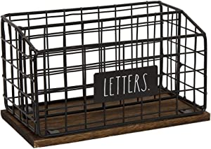 "Rae Dunn Desktop Letter Holder – 2 Compartment Mail and Stationary Table Top Organizer – Chic and Stylish Galvanized Steel and Solid Wood - ""Letters"" Print - for Home and Office"
