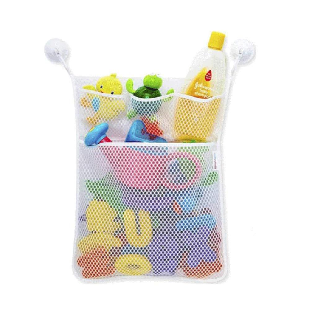 FishMM Bath Toy Organizer, Massive Baby Toy Storage, Shower Caddy College, Quick Dry Bathtub Mesh Net, with 4 Pockets, 4 Suction Hooks, 3M Stickers, 14x18