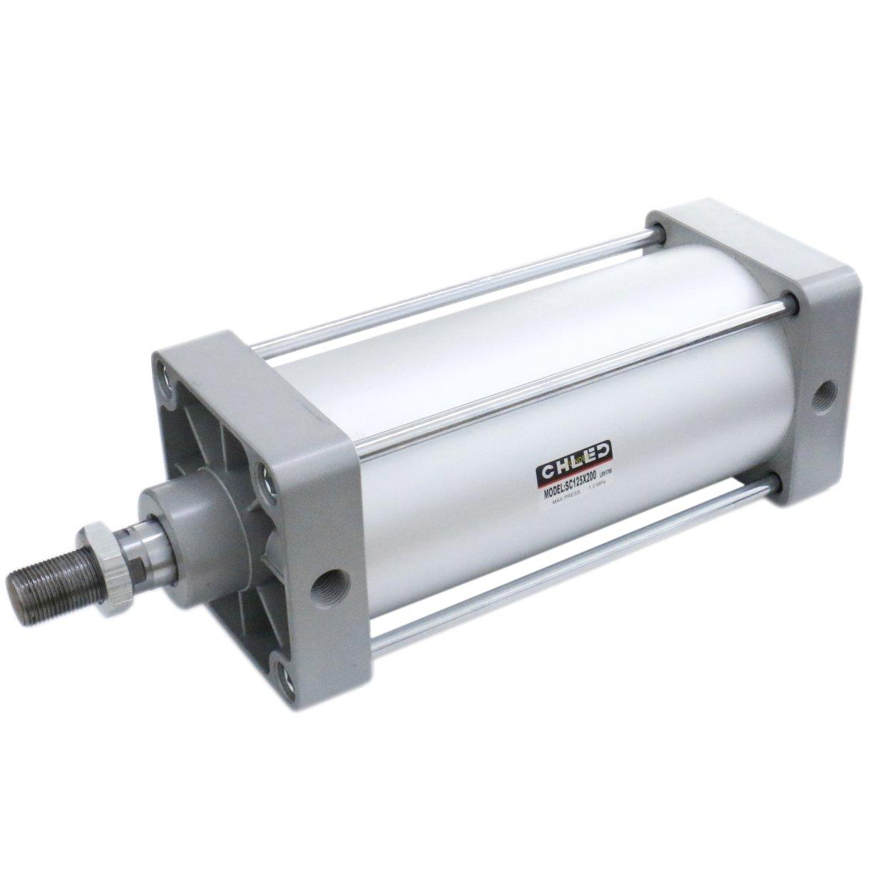 Baomain Pneumatic Air Cylinder SC 125 x 200 PT 1/2; Bore: 5'', Stroke: 8''; Screwed Piston Rod Dual Action