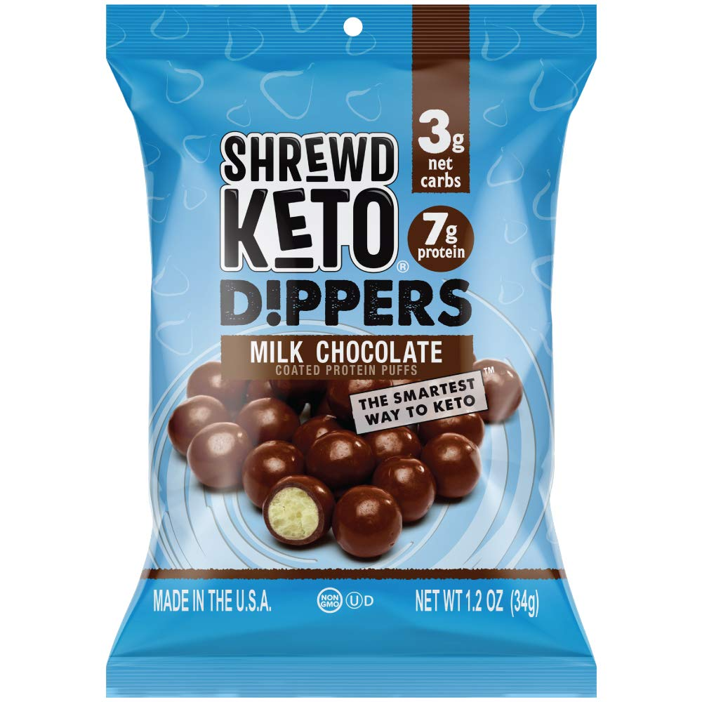 Shrewd Food Keto Milk Chocolate Protein Crisp Dippers, High Protein Keto Snacks, Low Carb Chocolate, 7g Protein, 3 Net Carbs, 1.2 oz, 16 ct