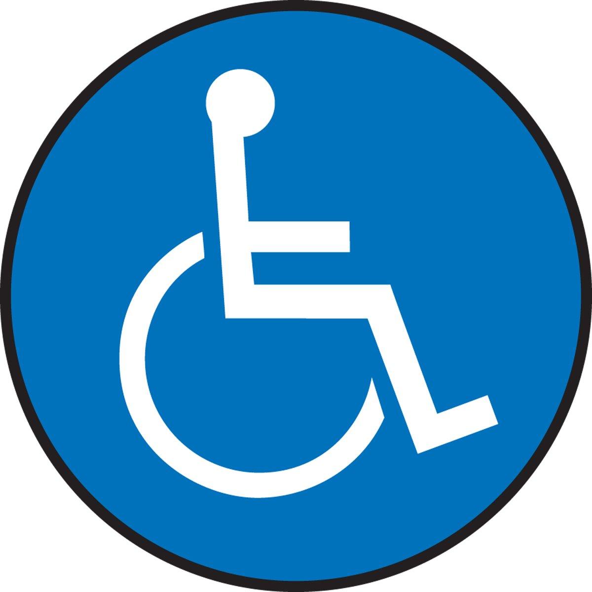 Accuform Signs MFS2008 Slip-Gard Adhesive Vinyl Round Floor Sign, Legend''WHEELCHAIR GRAPHIC'', 8'' Diameter, White on Blue