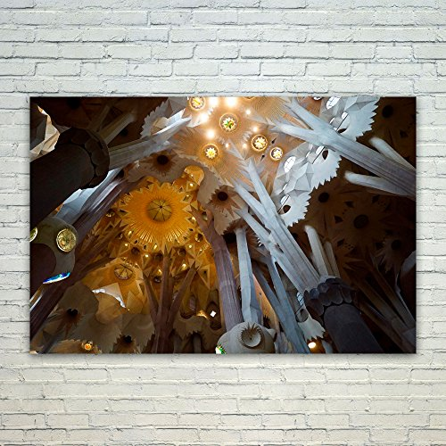 Barcelona 4 Light Wall Fixture - Westlake Art Poster Print Wall Art - Sagrada Famlia - Modern Picture Photography Home Decor Office Birthday Gift - Unframed - 4x6in