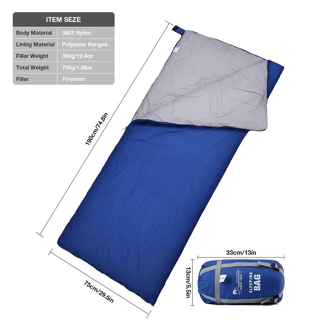 Mountaintop 213*77cm Saco de Dormir Rectangular Temperatura: 32-41°F(0-5°C) Encapuchado para Adultos con Bolsa De Almacenamiento Azul, Gris, Verde ...