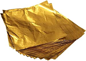 Mayplus 100 Pcs Aluminum Foils Paper Chocolate Candy Wrapping/Packing Sheets, 4x4 Inches, Square Sweets Lolly Paper Food Candy Tin Foil Wrappers(Gold)