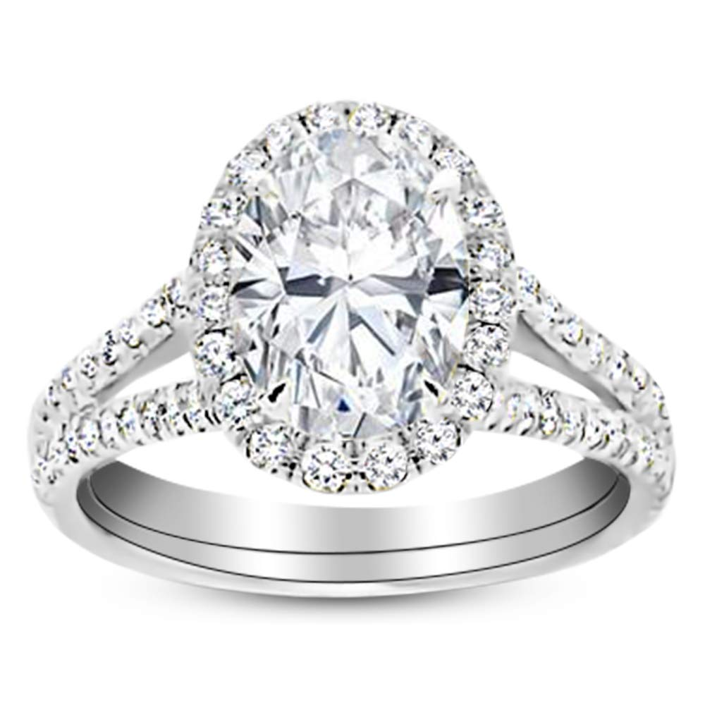 1.5 Ctw 14K White Gold Split Shank Oval Cut Diamond Engagement Ring (1 Ct K Color SI1 Clarity Center Stone)