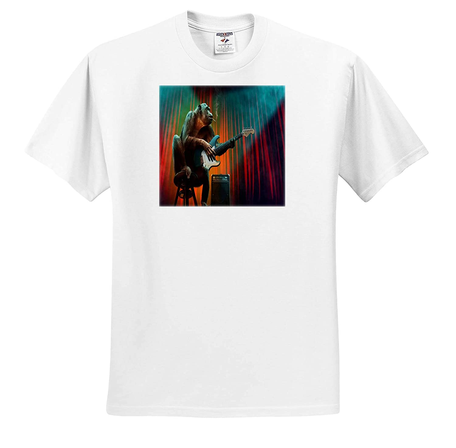 3dRose Lens Art by Florene Nature T-Shirts Image of Orangutan Smokes and Plays Guitar On Stage