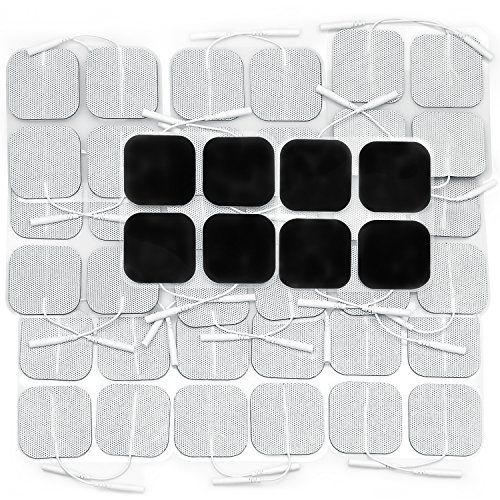 AUVON 2X2 44-Pack TENS Unit Pads, 2nd Gen Latex-Free Replacement Electrode Patches with Upgraded Self-Stick Performance and Non-Irritating Design