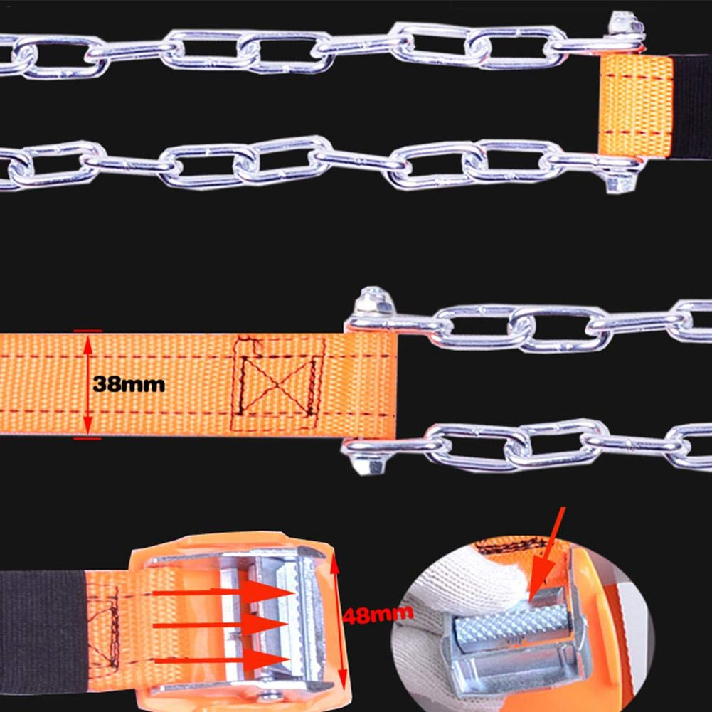 IMCROWN Tire Anti-Skid Steel Chain Snow Chains Car Security Tyre Belt Clip-on Chain Suitable for Most Automotive Truck SUV Yellow Emergency Thickening Anti Skid Tir