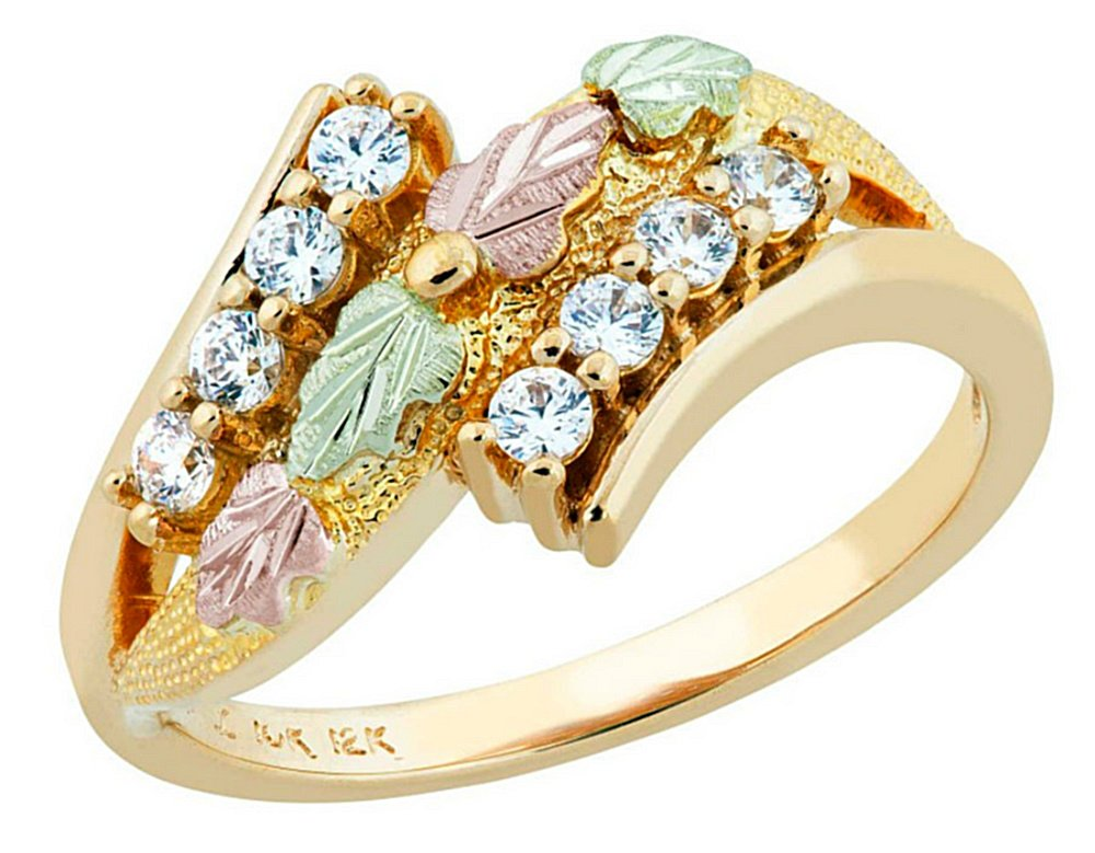 Round CZ Bypass Ring, 10k Yellow Gold, 12k Green and Rose Gold Black Hills Gold Motif, Size 7.25