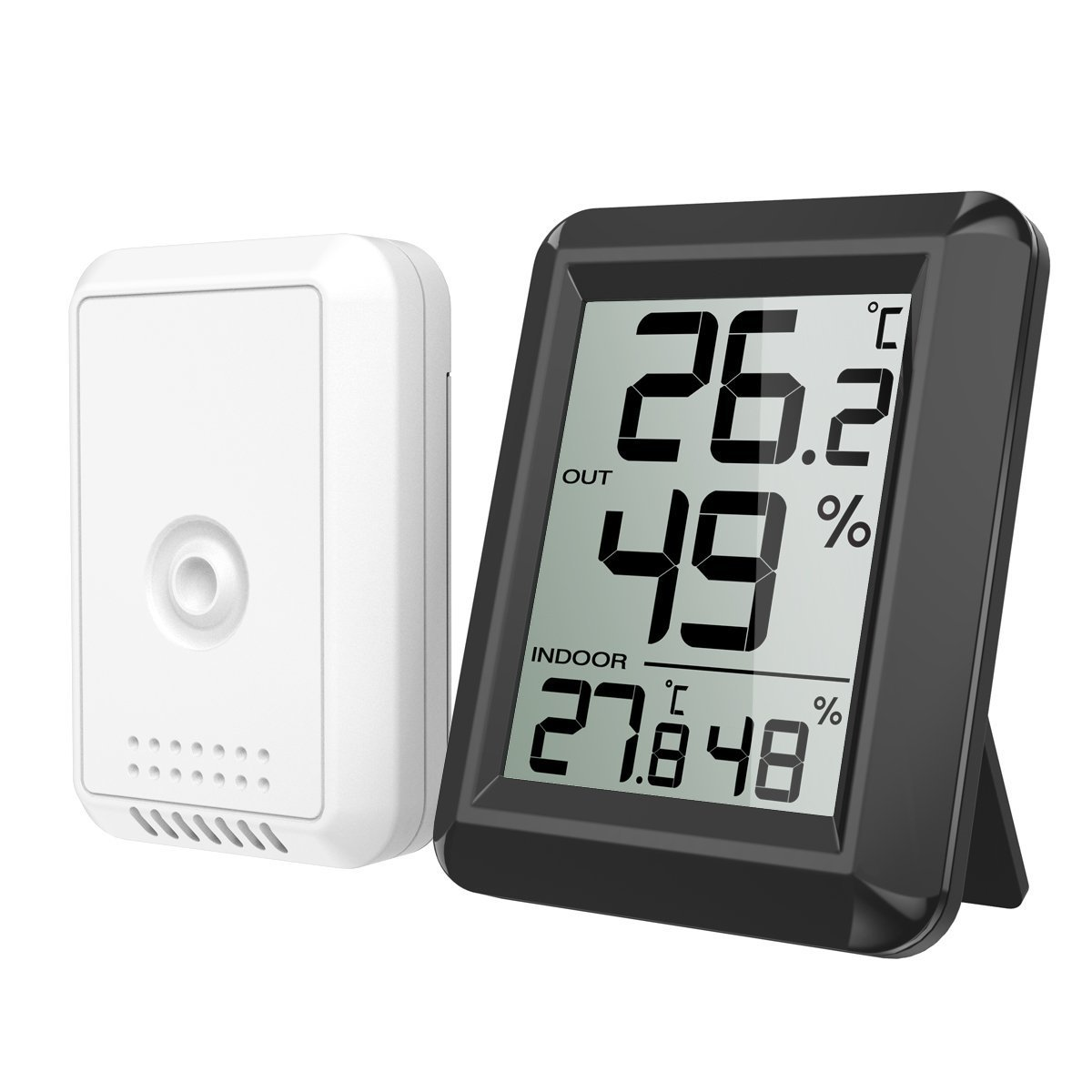 Oria Digital Thermometer Hygrometer, Indoor/Outdoor Humidity Meter, Temperature Monitor With Wireless Sensor, 328ft/100m Range, °C/°F Selectable, 60s Auto Refresh For Home, Office, Greenhouse etc.-Black