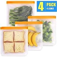 Reusable Storage Bags, 4 Pack Ziplock Gallon Freezer Bags Reusable Sandwich Bags BPA Free, Reusable Snack Bags Leakproof, Heavy Duty Rezip FoodStorageBags Reusable Lunch Snack Bag for Kids Women Men