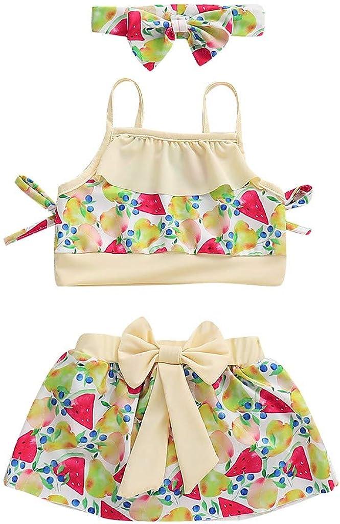 Waymine Kids Baby Girls Fruit Watermelon Print Suspender Tops+Bow Skirt+Headband Swimsuit Set
