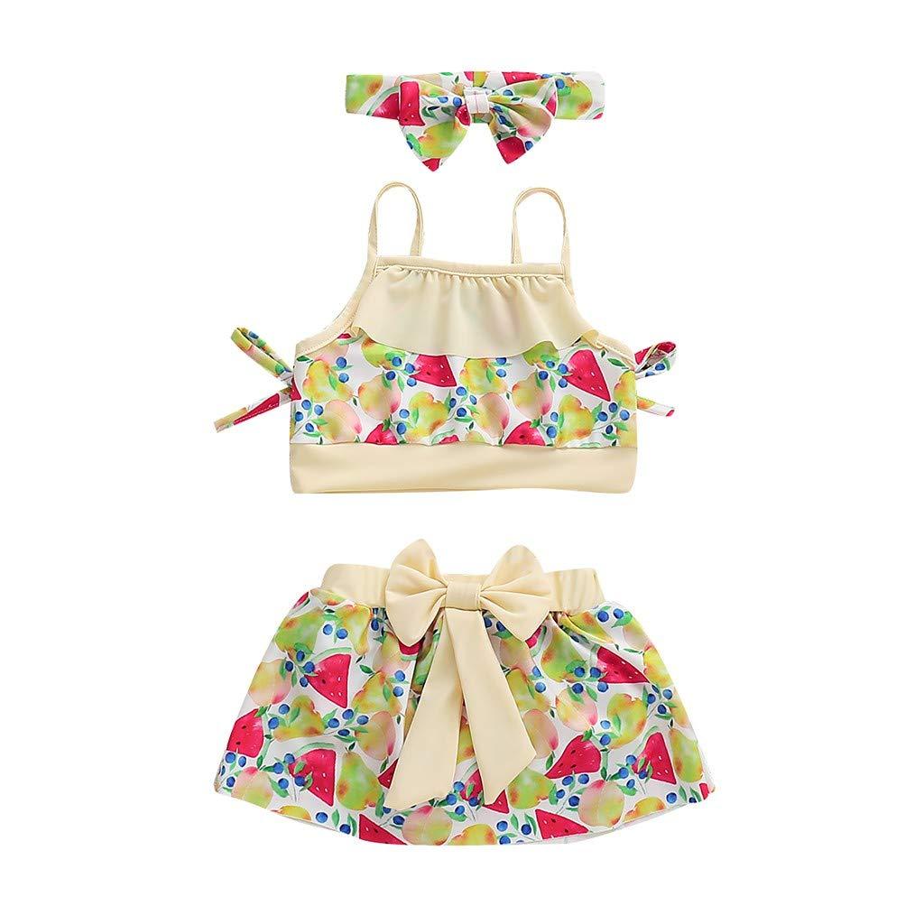 Little Girls Summer Bikini Sets,Jchen Baby Kids Girls Swimsuits Fruit Print Bikini Tops with Skirts Headbands Bathing Suits (Age:4-5 Years Old, Multicolor)