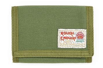 ROUGH ENOUGH Cordura Trifold Cartera de velcro con caja de regalo/ID Ventana/bolsillos
