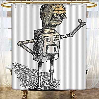 Rust Metal Grommets Shower Curtain Theme of Robot Sketch Character Artsy Black Grey Light Marig Machine Washable 36 x 72 inches