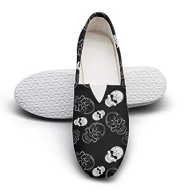a3b4ab51bf183 Amazon.com | Unique Funky Womens Canvas Flat Shoes-Camo Skull Art ...