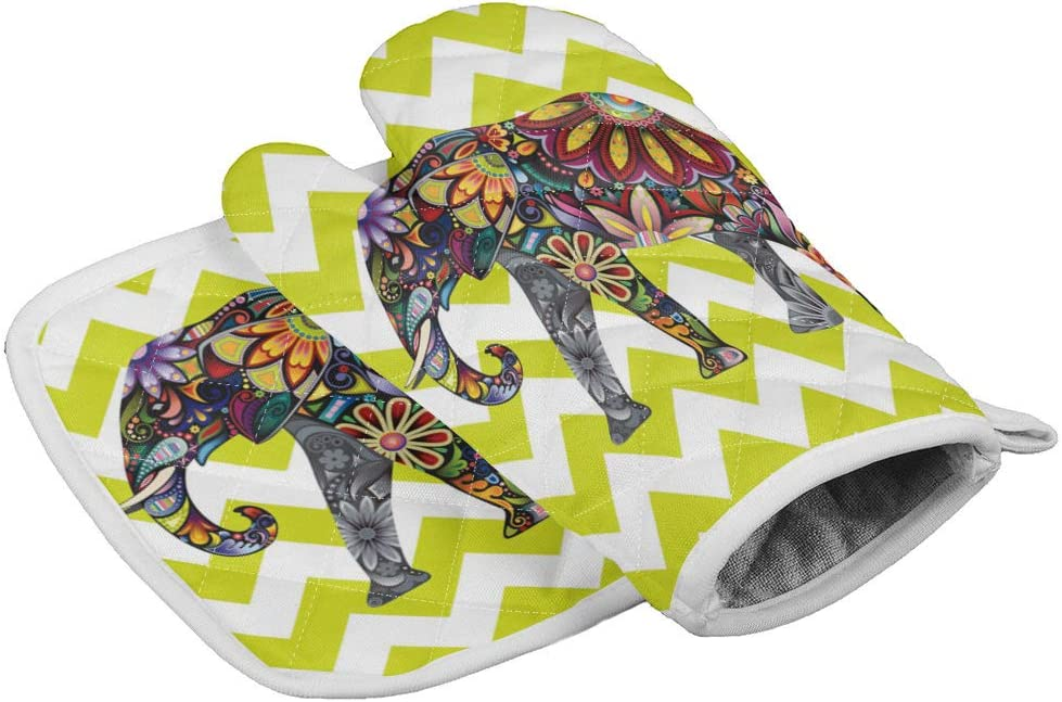 Crystal Emotion Kitchen Oven Mitts and Pot Holders Sets,Mandala Elephant Green Chevron Heat Resistant Oven Gloves and Potholders Hot Pads Set Non-Slip Mittens for Cooking BBQ Baking Grilling