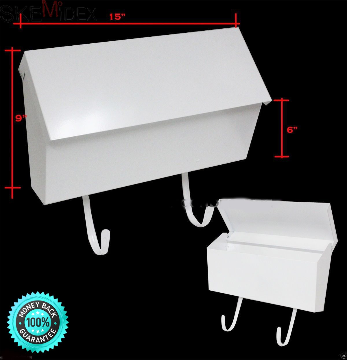 SKEMiDEX---New 15''x9''x6'' Wall Mount White Mail Box #CHIMB101. Mailbox Is Made of 8 And 20 Gauge Steel Construction And Covered In A Durable Powder-coated Finish To Protect It