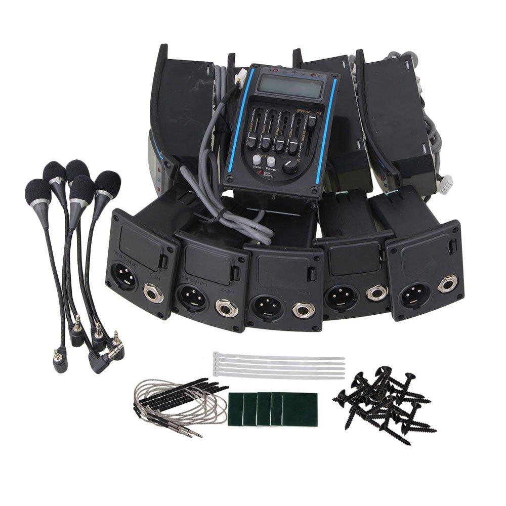Yibuy 10個入れ ブラック RK-4M アコースティック 5バンド EQイコライザープリアンプピエゾピックアップ LCDチューナー&マイク付き   B075CNSXZN