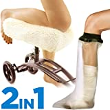 Colux Knee Walker Pad Cover + Watertight Cast and Bandage Protector   Plush, Synthetic, Faux Sheepskin Scooter Washable Cushion for Knee Roller & Adult Foot Protection in Shower (Off White)