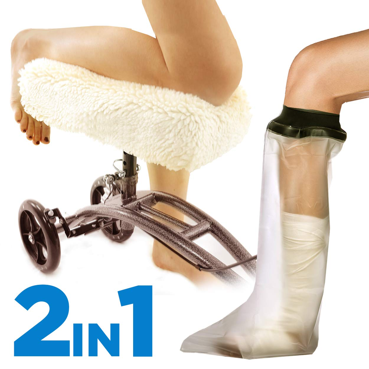 Colux Knee Walker Pad Cover + Watertight Cast and Bandage Protector | Plush, Synthetic, Faux Sheepskin Scooter washable Cushion for Knee Roller & adult foot Protection in shower by COLUX