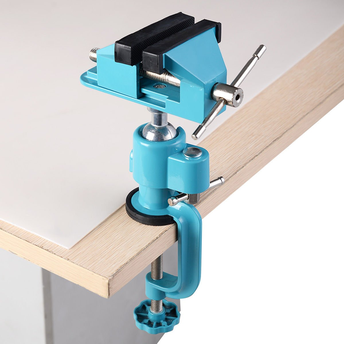 Work Bench Tool Vise Swivel w/Clamp 3'' Tabletop Vises Tilt Rotates 360°