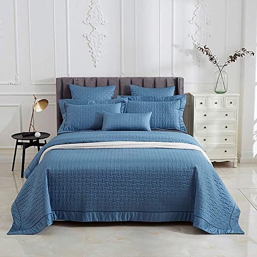 3 Piece Quilted Bedspread Throw Set Comforter Pillow Case Double King Size Bed.