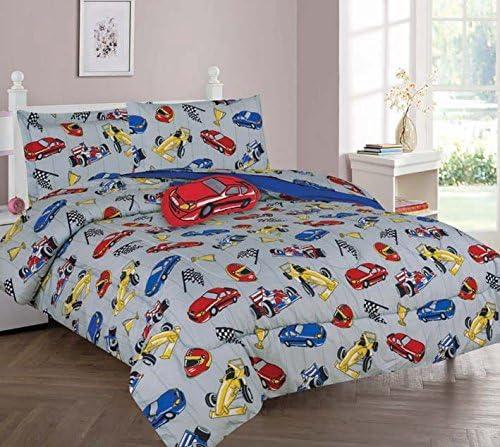 GorgeousHome RACE CARS Design Silver Blue Deluxe Kids Teens Boys Complete Bedroom Decor Comforter Sheet Set or Window Dressing Curtain Panel or Valance 8PC FULL COMFORTER SET