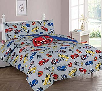 GorgeousHome RACE CARS Design Silver Blue Deluxe Kids Teens Boys Complete Bedroom Decor Comforter Sheet Set or Window Dressing Curtain Panel or Valance 6PC TWIN COMFORTER SET