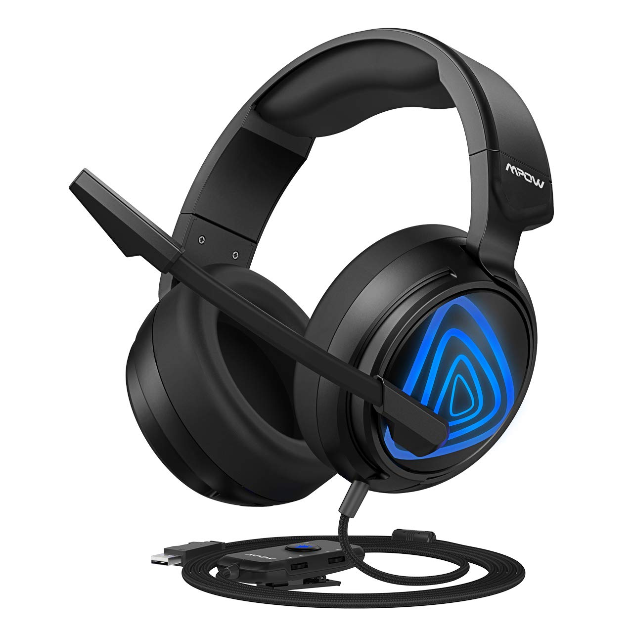Mpow PC Gaming Headset USB Edition , with Bass Boost Surround Sound, 50mm Drivers, Noise-Cancelling Mic, in-line Control, Zero Fatigue Earpads, LED Gaming Headphone for Computer, PS4