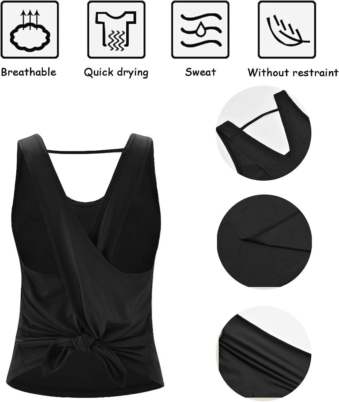 DREAM SLIM Women Cute Sexy Yoga Shirts Tie Back Loose Workout Sports Racerback Crop Tank Tops: Clothing