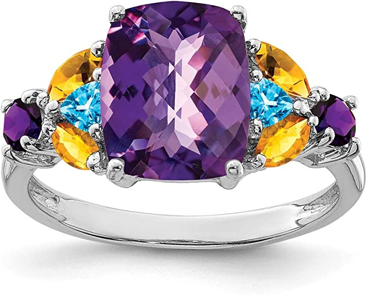 925 Sterling Silver White Topaz Amethyst Fashion Ring Jewelry Valentine Gift
